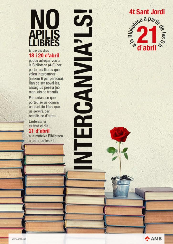 """Cartell campanya """"No apilis llibres. Intercanvia'ls"""""""