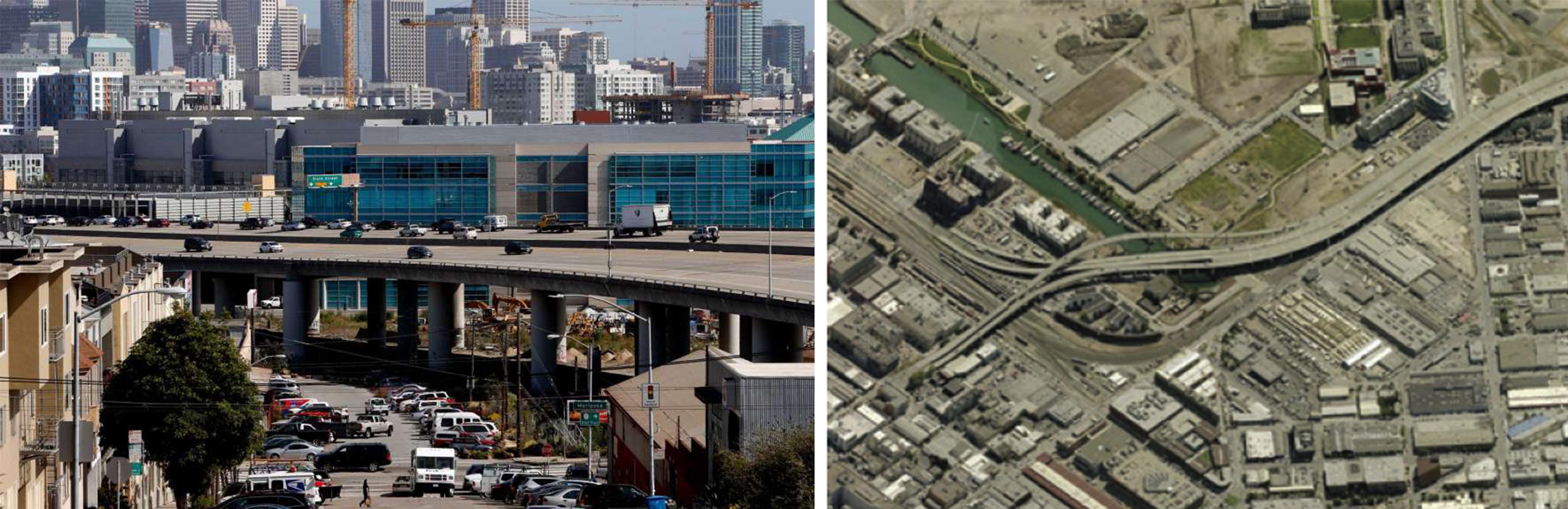 Trams pendents de la Interestatal I-280 prop del barri Mission Bay i el carrer 16 a San Francisco. Font: SfGate i CNU.org