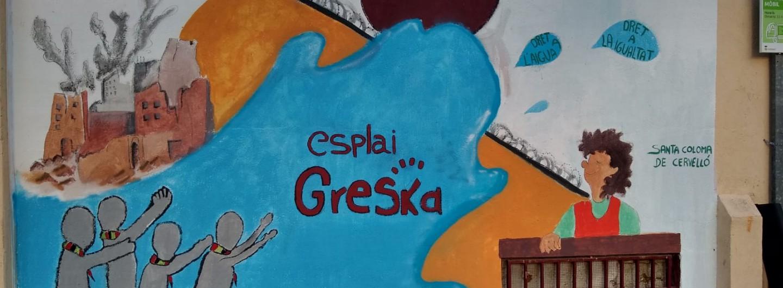Un mural de l'Esplai Greska de Santa Coloma de Cervelló per trencar fronteres